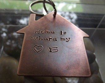 My Heart is Home, copper house shaped keychain, Rustic house, House warming gift, New home keychain