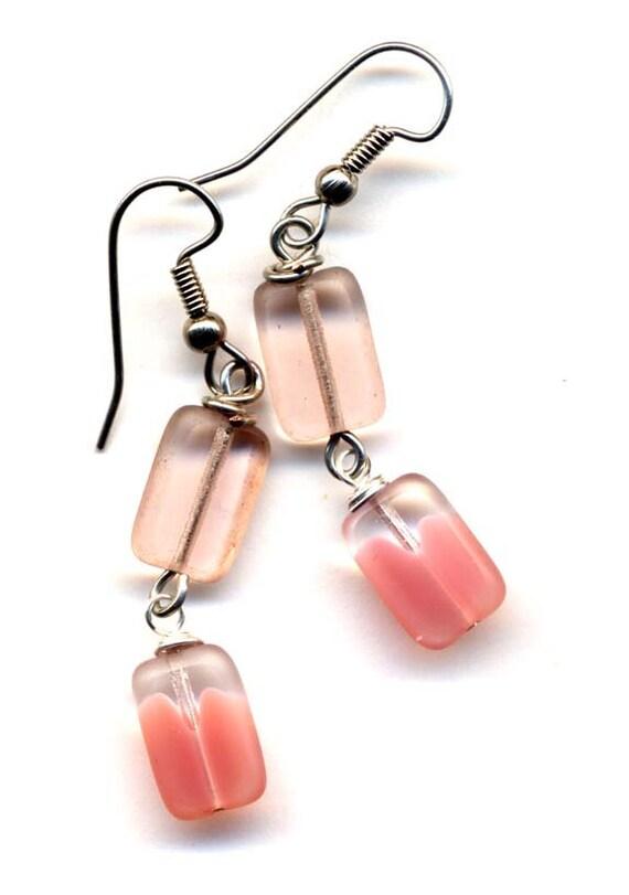 Pink And Clear  Earrings, Mod Earrings, City Style Jewelry, Givre Earrings, Surgical Steel Earrings, Mod Handmade Jewelry by AnnaArt72