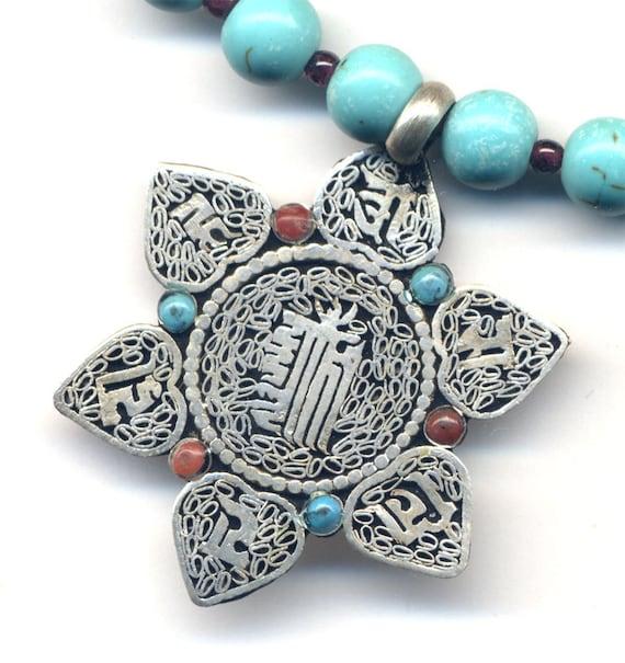 Nepal Mandala Pendant, Kalichakra Mandala Necklace, Good Luck Nepal Necklace,  Magnesite Garnet Necklace, Nepal Jewelry by AnnaArt72