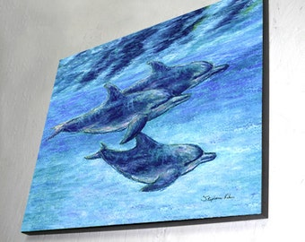 Dolphin Cruise, Wood Wall Panel, Ready to Hang
