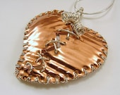 Textured Copper and Sterling Silver Mixed Metal Broken Mended Heart Pendant with Chain Cutomizable Resizable