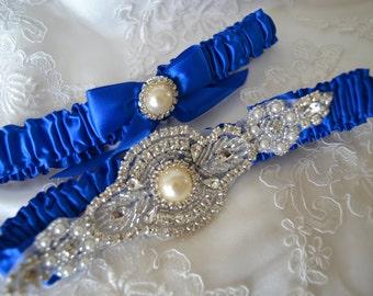 Wedding Garter,Bridal garter Set,Royal Blue Satin Garter Set