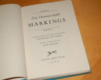 Dag Hammarskjold MARKINGS Translated from the Swedish by Leif Sjoberg & W H Auden with a Foreword by W H Auden - Vintage Hardback Book
