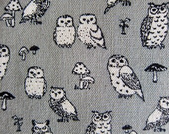 Animal Print Fabric By The Yard - Cotton Linen Blend - Owl Power on Gray - Half Yard
