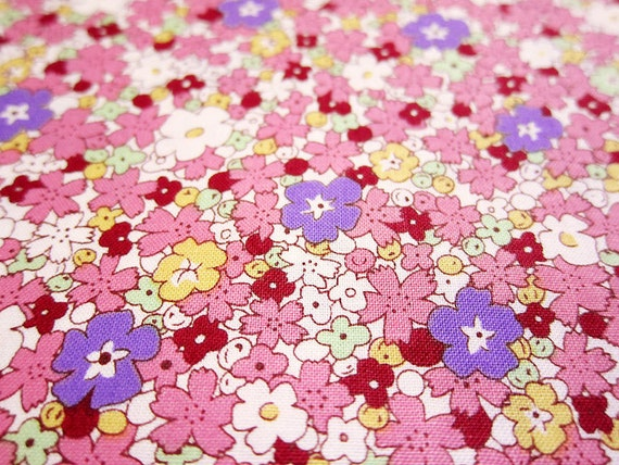 Japanese Cotton Fabric - Morning Glory on Pink - Fat Quarter LAST PIECE