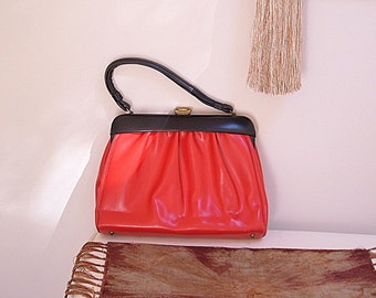 Vintage Kelly Bag Red & Black Handbag Purse