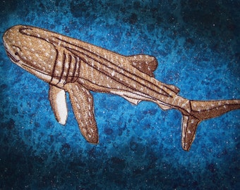 Sand Color Whale Shark Rhincodon typus Iron on Patch