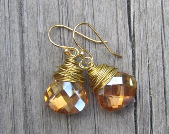 Topaz Crystal Wire Wrapped Earrings.