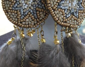 Pretty Vintage Southwestern Feather, Beaded Pierced Earrings