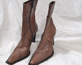"Vintage Bravo Browns  Made in Italy Leather  Boots Size 38  Pumps Heels 4"" Excellent Condition  On Clearance Now"