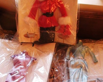Barbie Clothing Vintage Unused 1970s three complet outfits DISCO Go Go  and Christmas Santa Costume  On SaLe Now