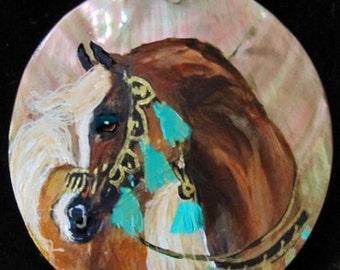 Arabian horse art  hand painted necklace  chestnut