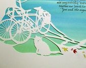 Elm Tree Path with Bikes and Cat - Papercut Ketubah Wedding Artwork - calligraphy Hebrew English