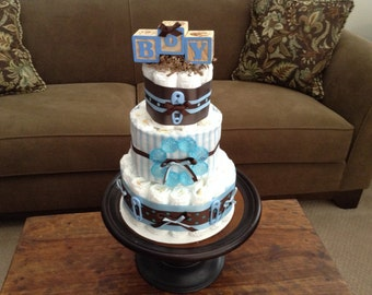 its a boy diaper cake baby shower centerpiece  blue and brown Diaper Cake Baby Shower Centerpiece Gift