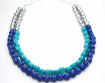 Stillwater Collection - Royal Blue Teal Turquoise Necklace  - Painted Wood Beads - Multi Strand Multicolor Summer Necklace
