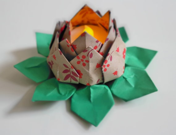 Items similar to Tealight Origami Paper Water Lily Lotus ... - photo#20