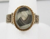 SALE SUPERB Vintage Antique Victorian Mourning Hair ring 1800's