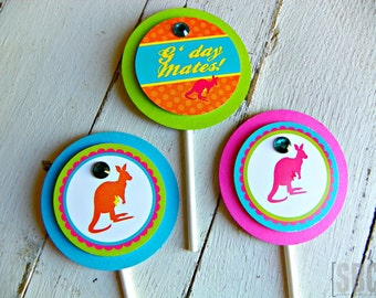 Aussie Kangaroo Cupcake Toppers...Set of 12 Aussie Cupcake Toppers
