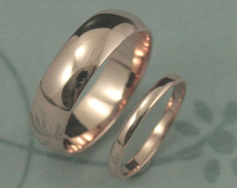 Perfect Pair--Solid 14K Gold Wedding Ring Set--YOUR Choice of Rose, Yellow or White Gold--6mm and 2mm wide