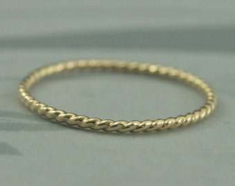 14K Yellow Gold Twist Ring--Thin Twist Pattern Band Handmade in Solid 14K Yellow Gold--Thin Yellow Gold Stacking Ring