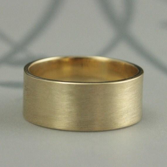 Goldring breit  Solide 14K Gold breit flach BandRohr