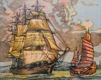 Clipper Ship, Sailing Ship print, Vintage 1936 Nautical art, Surprise