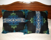 Wool Southwestern Pillow Black and Blue Evening Star Southwestern Tribal Geometric Handcrafted Using Fabric from Pendleton Woolen Mill