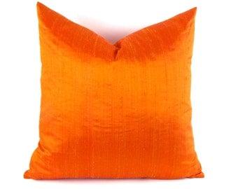 Bright Orange Silk Pillow Cover - Dupioni Silk Pillow Cover - Genuine Silk Pillow Cover