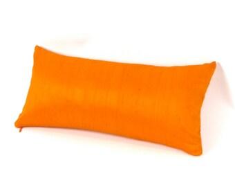 Bright Orange Silk Lumbar Pillow 10 x 18 inch - SMALL ORANGE PILLOW