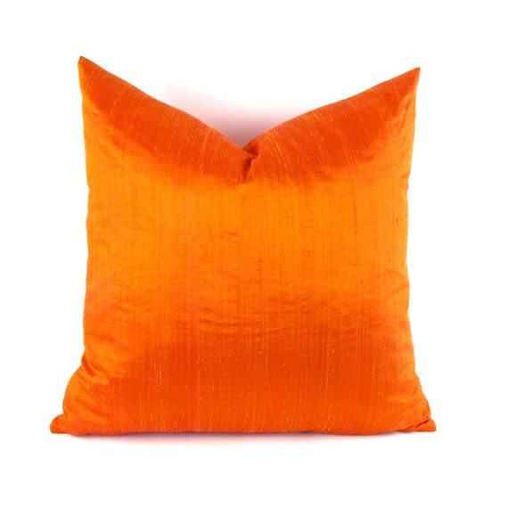 Bright Orange Silk Pillow Cover Dupioni Silk Pillow Cover