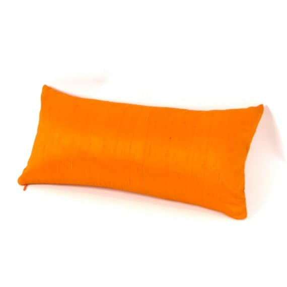 Bright Orange Silk Lumbar Pillow 8 By 17 Inch By MiCasaBella