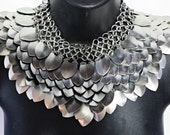 Scale Mail Gorget Choker Stainless Steel Punk Rock Dragonscale Silver Necklace Armor Cosplay
