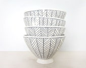 Herringbone Patterned Bowl in Black and White Made to Order