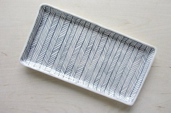 Large Herringbone Nesting Tray in Black and White - Made to Order