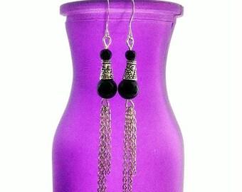 Long Black Earrings. Edwardian Inspired. Onyx & Chain. Midnight in Dublin
