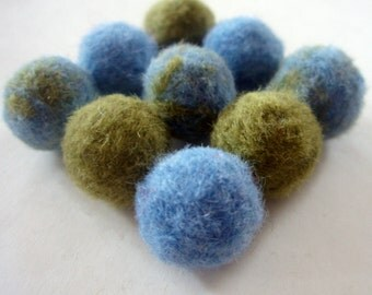 Felted Balls - Earth Day Needle Felted Ball Beads - Felt Beads - Green and Blue Wool Balls - Marbled and Solid Soft Wool Beads
