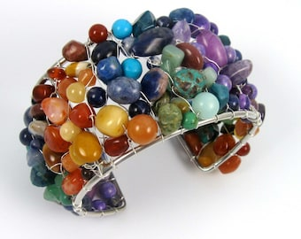 Rainbow Gemstone Cuff, mixed beads and chips wire wapped bracelet