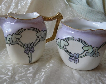 Violets Exquisitly Painted  Sugar Bowl and Creamer Bavaria