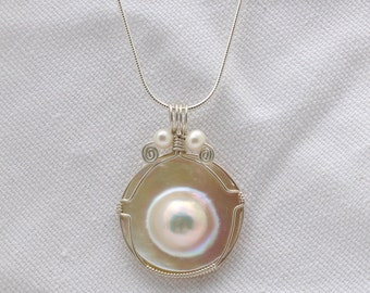 Wire Wrapped  Mabe Freshwater Pearl Pendant