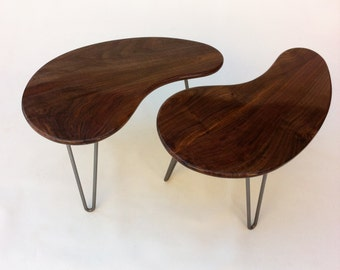 """Mid Century Modern Kidney Bean Side Tables - Pair of 28""""  Tables - Atomic Era Biomorphic Amoeba Design In Solid Walnut with Hairpin Legs"""