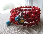 Red coral chips memory wire bracelet