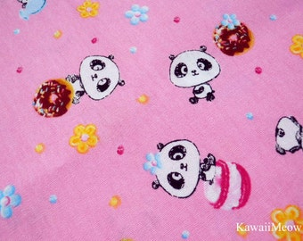Kawaii Japanese Fabric - Sweets Pandas - Fat Quarter (to06)
