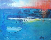 "Abstract Seascape, Contemporary Art, Original Art, ""The Sun Falls to the Sea"" by Carol Schiff, 11x14 Original Abstract"