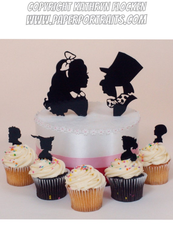 alice in wonderland wedding cake toppers wedding cake topper in silhouettes lasered 10671