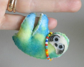 Sloth plush in tie dye print with love beads -Hippy stuffed animal toy - hand painted face and extra soft body - rain forest animal