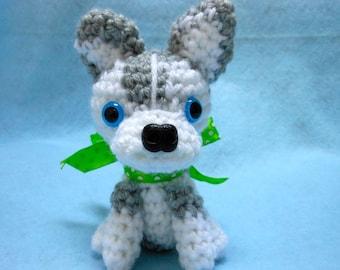 Siberian Husky Crochet Dog in Gray and White, Canine, Amigurumi, Stuffed Dog, Stuffed Animal, Dog Lover