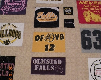 T-Shirt Quilts Handmade Custom Designed - Solid Background