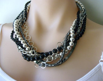 Chunky Chain and Shiny Iron Ore Hematite Multi strand Biker Chic braided Necklace in silver, black and dark grey