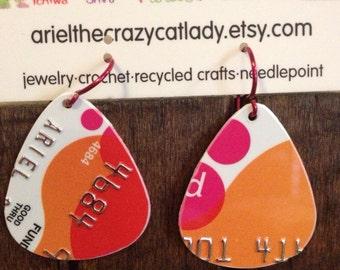 Recycled credit card earrings orange pink