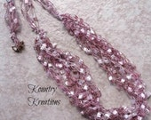 Ladder Yarn Necklace, Pink and Silver Ribbon Necklace, Crocheted Ribbon Necklace, Fiber Jewelry (Ready to Ship)